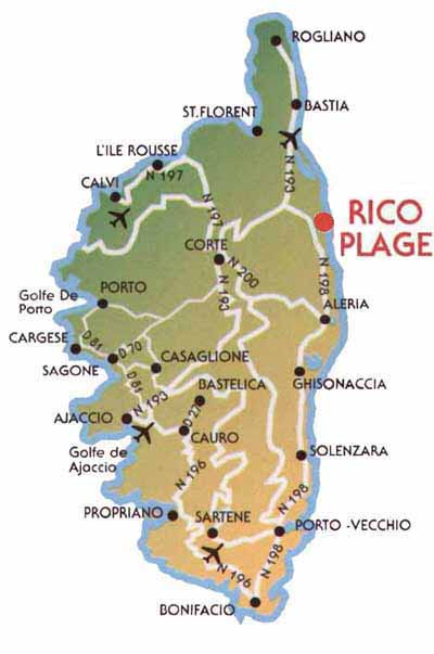 RicoPlage Bungalows Korsika Road map of Corsica